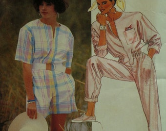 Zipper Front Jumpsuit Pattern, Romper, Jewel Neck, Short/Long Sleeves, Blouson Waist, Side Pockets, McCalls No. 2921 UNCUT Size 8 Bust 31.5""