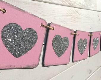 HEART Banner, Valentine banner, pink and silver, valentine garland, valentine photo prop, baby girl banner, baby shower banner, nursery