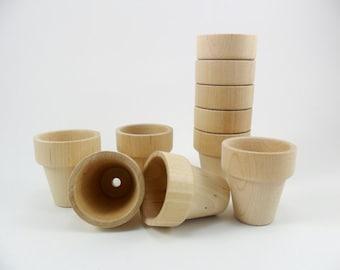 """Wood Flower Pots 1 5/16"""" H x 1 1/4"""" W Miniatures - 10 Pieces"""