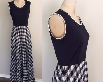 "1970's Black Polyester & Plaid Cotton Skirt Maxi Dress Vintage Dress Size Small Medium 26"" 27"" Waist by Maeberry Vintage"
