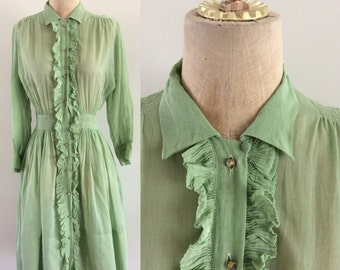 1940's Pale Green Organza Shirtwaist Dress with Ruffle Vintage Dress Size XS Small by Maeberry Vintage