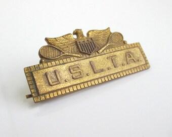 USLTA Award Medal Pin w/ Ribbon Attachment - Vintage United States Ladies Tennis Association