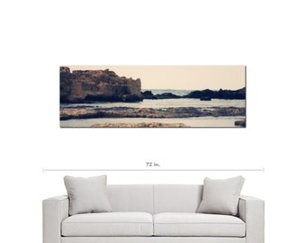 Rocky Coast - Mediterranean Decor - Panoramic Canvas - Stone Cliffs - Sea View - Clear Hazy  - Large Canvas - 20 x 60 Canvas