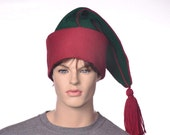 Custom listing for Zense Wool Phrygian Cap with Tassel Wide Red Cuff Green Body with Piping Red Tassel Liberty Cap