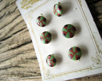 Set of 6 Antique Glass Buttons 3/8 inch (Ref A-4443 Box 1)