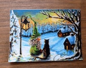 "ACEO: ""One Cat and her Tomte - watching the sunset"" hand finished Limited Print"