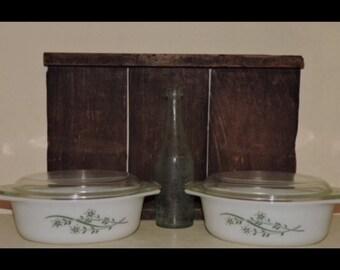 Two Vintage Pyrex Promotional Oval Casseroles - Floral Casserole/Green Honeysuckle - 1960 - 1 1/2 QT - #043