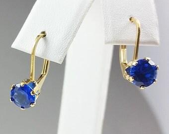 14K Gold Filled Lever-back Sapphire Earrings, 6mm Sapphire Earrings, Lab Sapphires