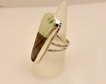 Picture Jasper Ring Set in Sterling Silver
