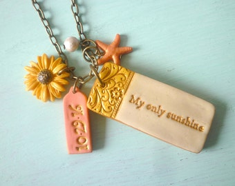 Mother of the Bride Quote Necklace, MOTHER, You're my sunshine, Custom, MOB gift, bride to Mother, Sunflower, Starfish, Date, Succulents