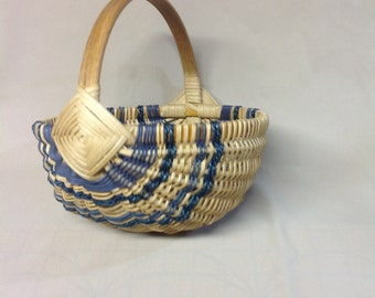 Smaller Sized Hand Woven Melon Basket with Blue Accent Weaving