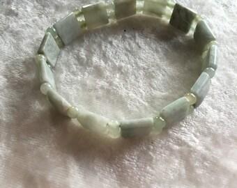 Serpentine Bracelet, Beaded Bracelet, Stretch Bracelet, Gift for Her, Green Bracelet, Dainty Bracelet, Domed Bracelet, Serpentine Jewelry