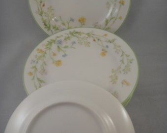 Noritake Ivory China Reverie 7191 Green Trim Bread and Butter Plates (6 available)