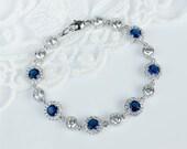 Bridal Bracelet, Blue Sapphire Bridal Bracelet, Something Blue Bracelet, Cubic Zirconia White and Sapphire Bridal Bracelet, Wedding Jewelry