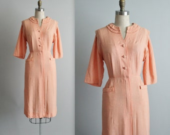50's Shirtwaist Dress // Vintage 1950's Orange Gingham Cotton Fitted Casual Shirtwaist Dress L