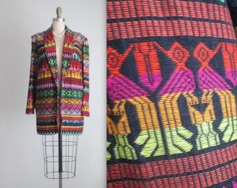 80's Guatemalan Jacket // Vintage 1980's Vibrant Embroidered Tribal Jacket Blazer XL