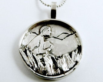Sterling Silver Angel Pendant - Lark Loves Nature - Empowerment - Women - Strength - Echo Friendly - Nature Art Jewelry Pendant - 1813