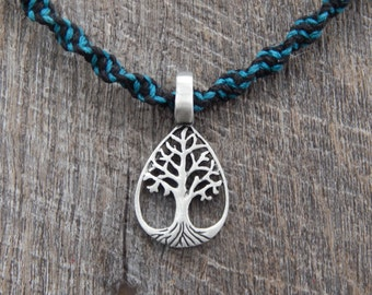 Tree of Life Teardrop Pendant Hemp Macrame Necklace