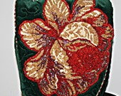 Hand Beaded Purse Red and Gold Rose