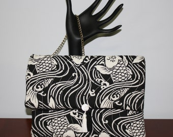 Quilted Handbag Oriental Koi in Black and White