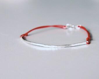 Sterling Silver, Curved Bar, Red String Bracelet, Minimalist, Hammered Bar, Pastel, Neon