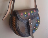 Vintage Tooled Leather Purse With Colored Flowers Hippie Boho Festival Leather Pouch Purse