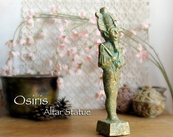 Osiris Altar Statue - God of the Underworld - Ancient Symbol of Regeneration and Rebirth - Large Handcrafted Sculpture - Aged Brass Patina