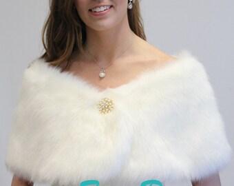 Bridal shrug, Ivory Faux fur Wrap, bridal stole, faux fur shrug, wedding shawl 306F-IVY