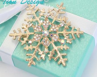 Gold Snowflake Brooch,  Wedding brooch, Austrian Crystal Bridal Brooch, bridal wrap, faux fur wrap | Free US shipping