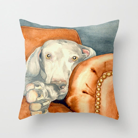 Decorative Pillow With Dog : Decorative Pillow Cover Weimaraner Dog Art Throw Pillow