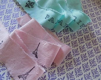 Hand Stamped Fabric Trim - Scrapbooking - Paris Merci - Wedding - Gift Wrapping