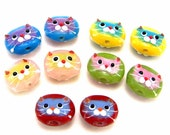5 pairs cat face two tone beads, lampwork glass multicolor cat beads, qty 10, animal beads, red cat face, turquoise, yellow, green, pink