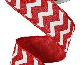 1.5 Red White Small Chevron Print Ribbon RG101824, Deco Mesh Supplies