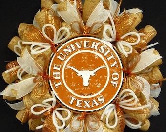 SUMMER SALE - College Teams, Texas Longhorns, Poly Mesh Wreath, College Football, Mesh Supplies