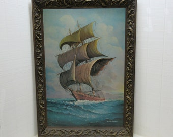 "Vintage Andres Orpinas Print On Board ""SPANISH CARAVELLE"" Nautical Print"