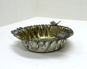 Vintage Bowl Silver Plated Floral Design With Butterfly ESC Heavy Silverplate