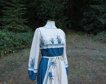 Pineapple Dress 1970s Long sleeves
