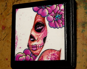 5x5 in Art Block Plaque - Ready to Hang Art Print Mounted on Wood - Lola