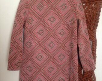 Geometric Heavy Polyester Mock Neck Mini Dress L-XL