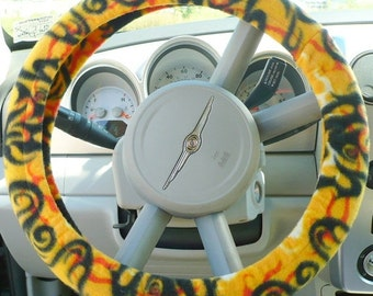 Save 10% Fleece - ( Warm ) -  Car  Steering Wheel Cover - ( Cars Only ) -  Yellow Flame