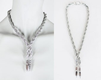 Vintage 50s Necklace / 1950s Sperry Silver Tone Chunky Chain Lariat Necklace
