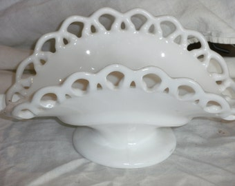Vintage Westmoreland Milk Glass Lace basket