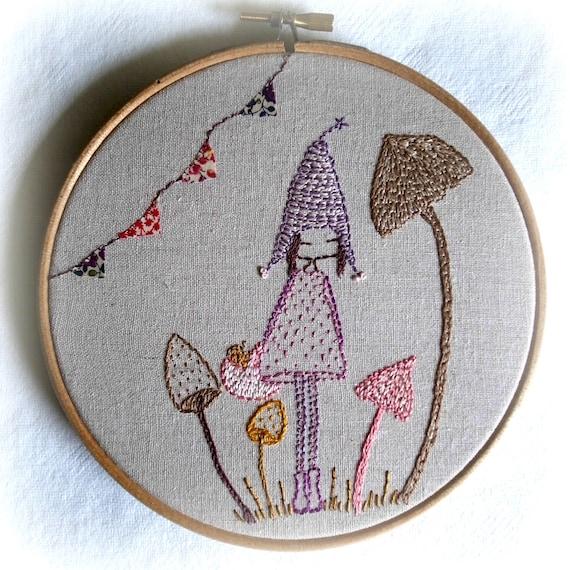 Mushroom pixie embroidery pattern pdf