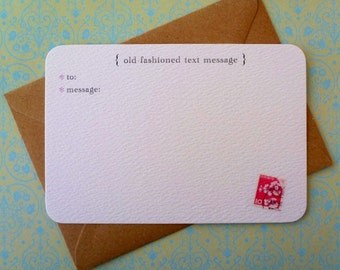Old Fashioned Text Message Pack of 6 Notecards