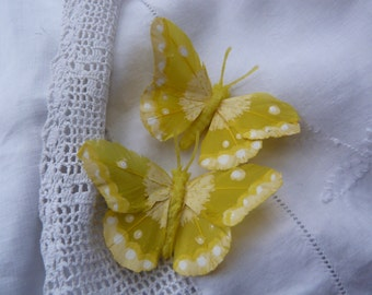Sunshine yellow feather butterfly hairclips
