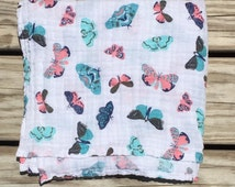"Butterflies- Muslin Premium Swaddle Blanket- large 47""x47""- light-weight swaddle- baby blanket- double gauze- teal- coral- peach- mint"