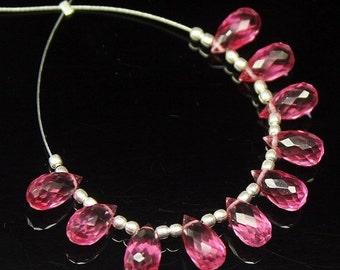 VALENTINE SALE 55% Pink Quartz Faceted Tear Drop Briolette Beads, 10 beads, 10x5mm, SKU8833/S