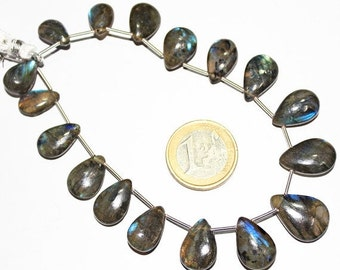 VALENTINE SALE 55% 8 Inches, 20-29mm, Natural Blue Fire Labradorite Smooth Pear Drops Briolette Beads, SKUU6647/S