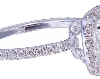 18k white gold cushion cut diamond engagement ring halo 2.10ctw F-SI1 EGL US