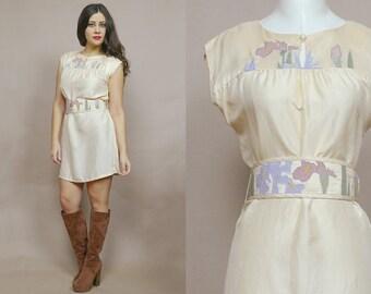 70s Mini Dress Floral Applique Peach White Duck Keyhole Neckline 1970s Tunic Hippie Boho Belted Pastel Cap Sleeve Obi Belt / Size M Medium